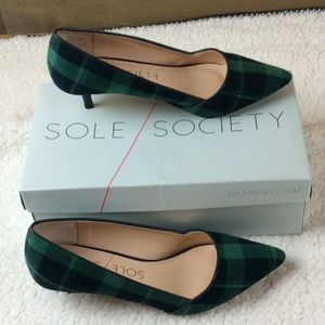 Sole Society green and navy plaid kitten heels 8